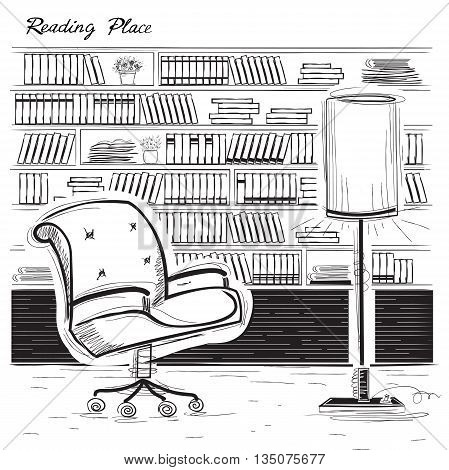 Interior Reading Room.vector Black Sketchy Illustration On White