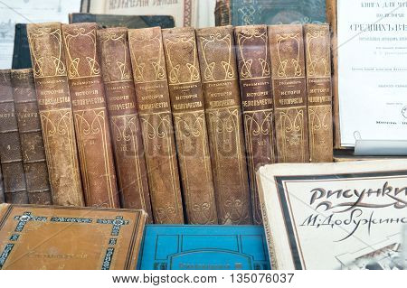 MOSCOW RUSSIA - June 14.2016: Collected Works and separate volumes of antique old books