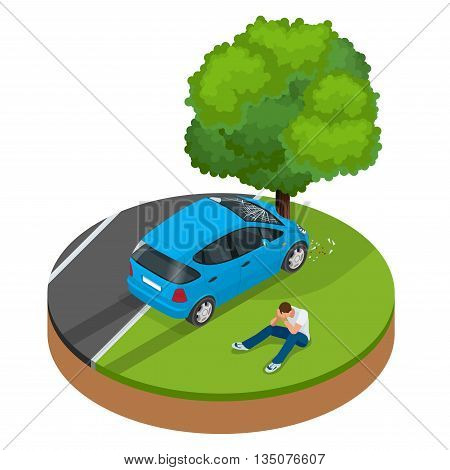 Car crashed into tree. Car crash collision traffic insurance. Car crash safety automobile emergency disaster. Auto accident involving car crash city street vector isometric illustration