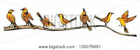Golden Oriole perched in various poses sitting on a branch. Set sitting and flying bird. Vector flat illustration.