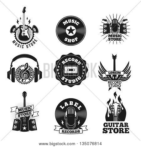 Set of the music shop labels. Design elements for logo label emblem sign.