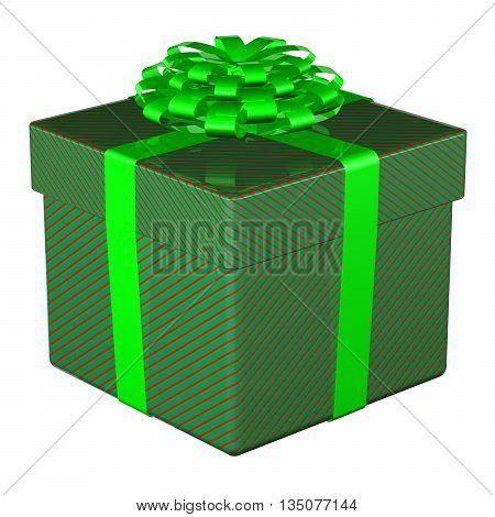 Gift box tied ribbon with a bow isolated on white background. 3D rendering.