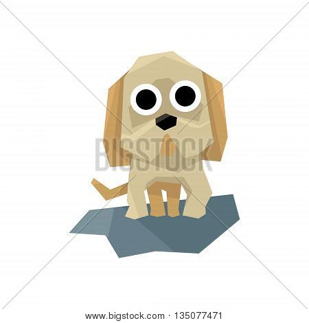 Small Puppy Bulldog Bright Color Simplified Geometric Style Flat Vector Illustrations On White Background