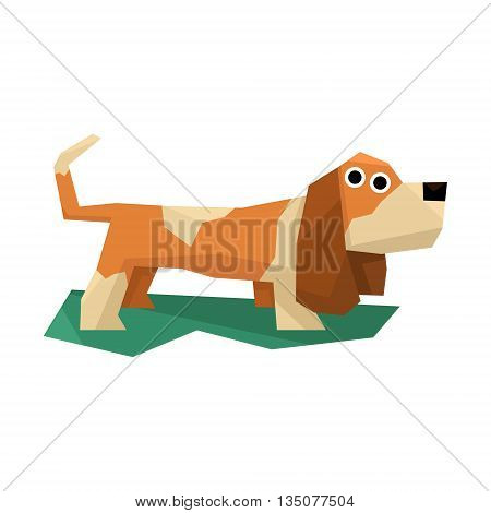 Basset Hound Dog Bright Color Simplified Geometric Style Flat Vector Illustrations On White Background
