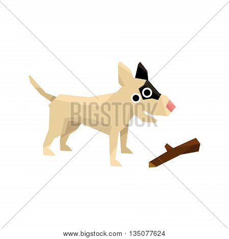 Bull Terrier And A Stick Bright Color Simplified Geometric Style Flat Vector Illustrations On White Background