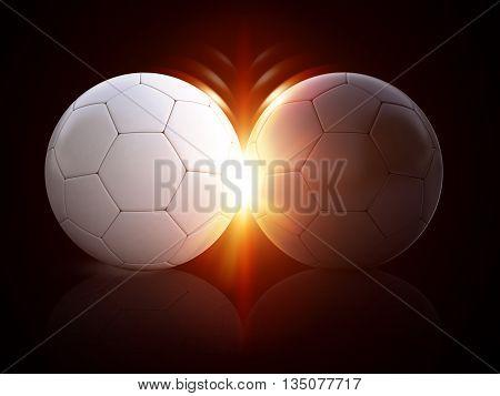 3d illustration soccer balls on isolated background