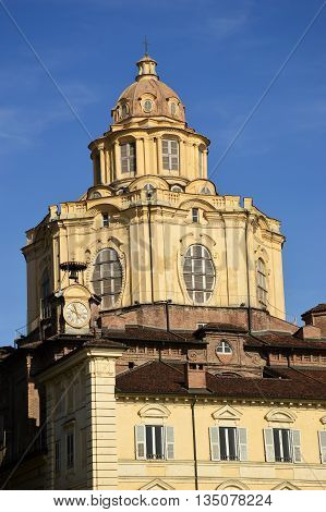 The dome of the church of Piazza Castello in Turin in Piedmont - Italy