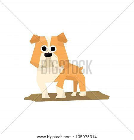 Bulldog Dog Breed Bright Color Simplified Geometric Style Flat Vector Illustrations On White Background