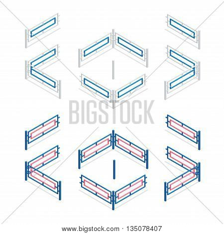 Metal fence flat 3d vector isometric illustration