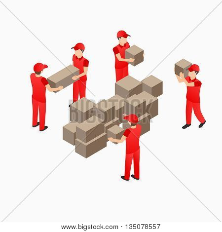 Warehouse storehouse workers in red with box vector isometric illustration