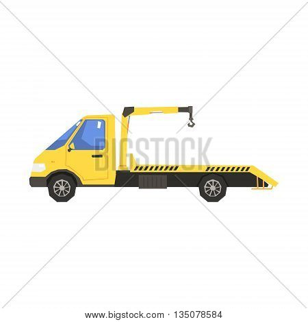Small Evacuation Truck Flat Simplified Colorful Vector Illustration Isolated On White Background