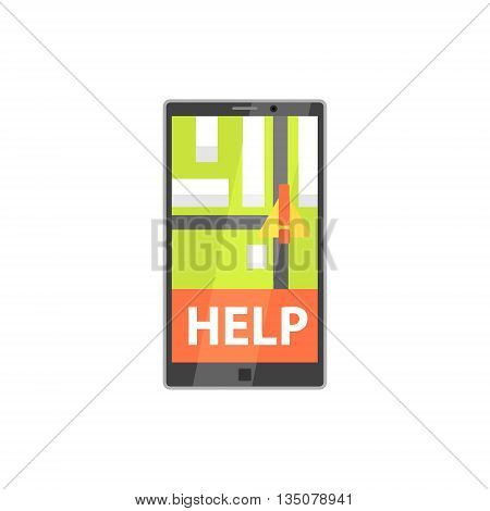 Smartphone Evacuation App With Location Mark Flat Simplified Colorful Vector Illustration Isolated On White Background