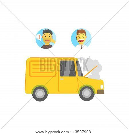Evacuation Service Operator, Client And Broken Vehicle Flat Simplified Colorful Vector Illustration Isolated On White Background