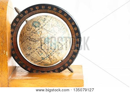 isolated wooden vintage globe with degree surrounded
