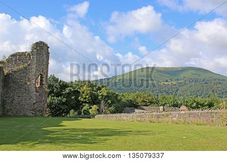 ruins of the castle in Abergavenny, Wales