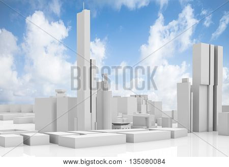Abstract Contemporary Cityscape Over Blue Sky