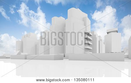 Abstract White Cityscape Over Cloudy Sky