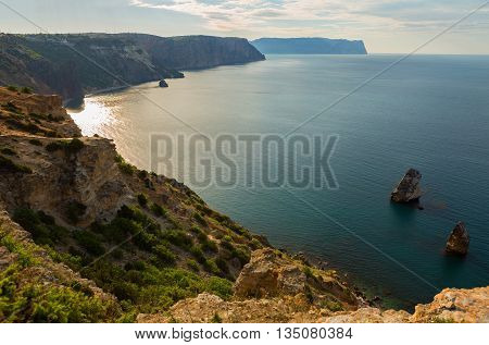 Fiolent cape. Sunny view of the Black Sea. Heraclean peninsula on the southwest coast of Crimea. Balaclava district of Sevastopol.