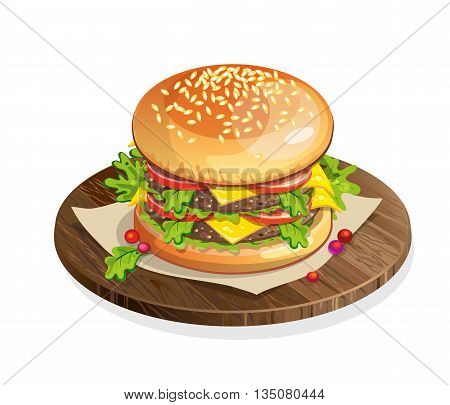 Isolated classic hamburger on wooden plate on white background. Fresh sandwich with beef, lettuce, tomato, buns and cheese. American fast food.