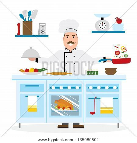 Male chef cooking on white background. Restaurant worker frying vegetables and holding bbq. Chef uniform and hat. Table and cafe equipment.