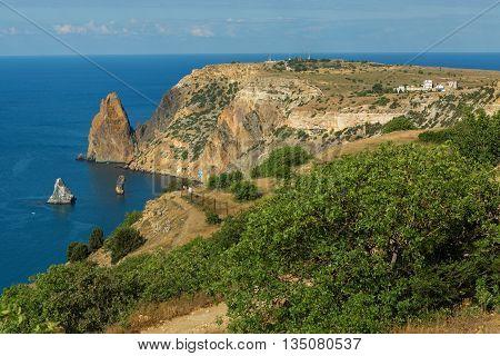 Beautiful Cape Fiolent. Heraclean peninsula on the southwest coast of Crimea. Balaclava district of Sevastopol.