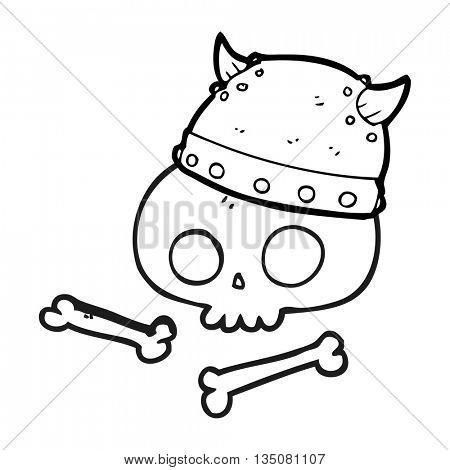 freehand drawn black and white cartoon viking helmet on skull