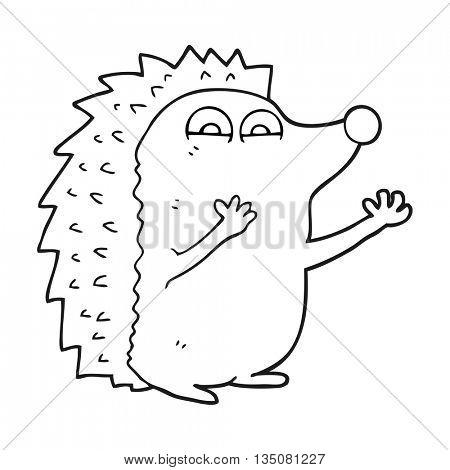 freehand drawn black and white cartoon cute hedgehog