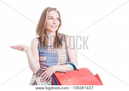 Cheerful Young Customer Doing Shopping And Gossiping In Her Leisure
