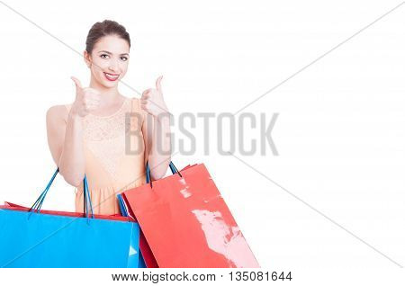 Beautiful Lady Holding Shopping Bags And Showing Like Gesture