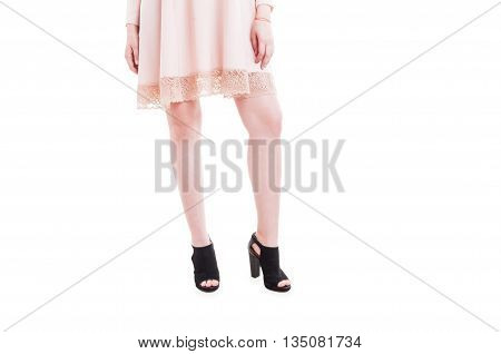 Picture Of Woman Legs In Summer Heels And Trendy Dress