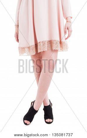 Beautiful Slim And Long Woman Legs Wearing Modern High Heels