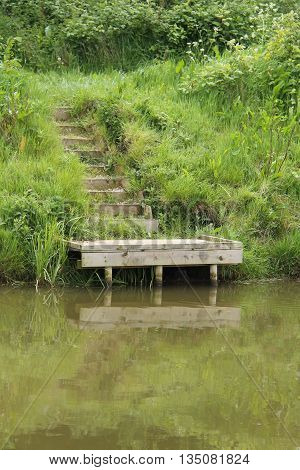 Steps to a Canal Side Wooden Platform for Angling.