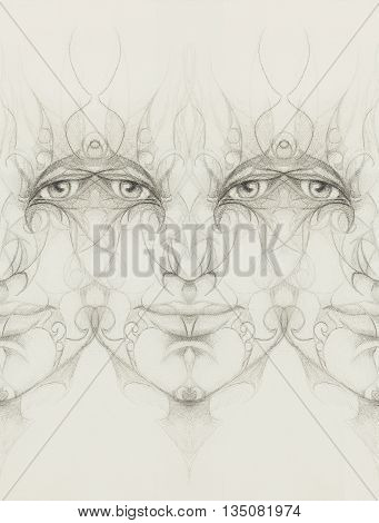 Mystic Man Face With Floral Ornament. Drawing On Paper. Eye Contact.