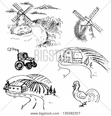 hand drawn ink vector set of farm, field, chicken, windmill, frame. vector eps 8.