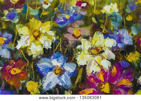 Big flowers. Close up fragment of oil painting artistic flowers image. Palette knife flowers macro. Macro artist's impasto flowers, texture mixed oil paints flowers.