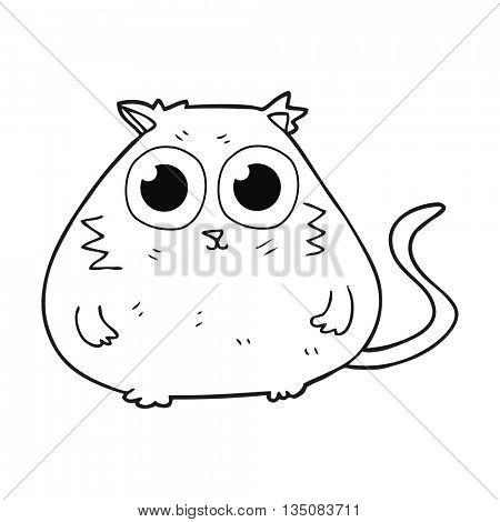 freehand drawn black and white cartoon cat with big pretty eyes