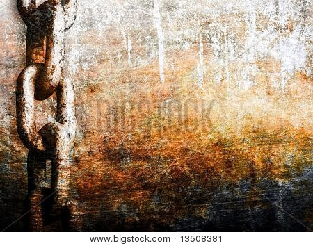 heavy chain on grunge metal background