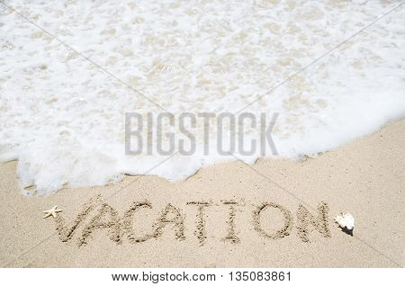 Vacation background on the sandy beach with wave