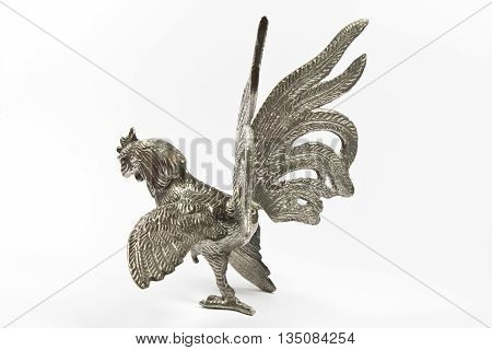 Silver metal Cockerel Statue on White Background