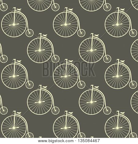 Vintage high wheeler seamless pattern. Stylish retro print for covering or wrapping. Vector Illustration background.