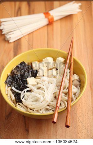 Japanese shiitake, pasta, and tofu soup