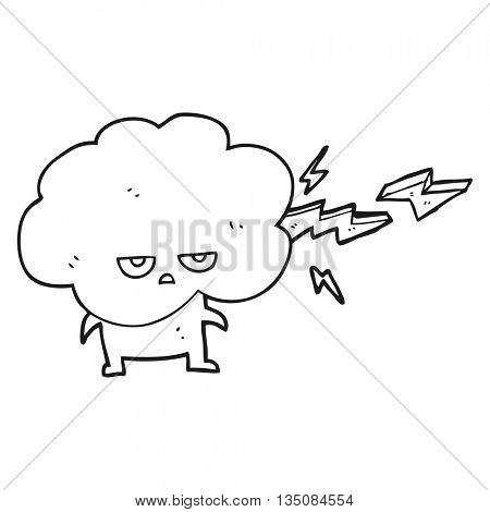 freehand drawn black and white cartoon raincloud character shooting lightning