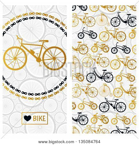 Invitation card with bike in the chain wreath and six kinds of bicycles. Vector background.