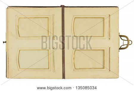 Double page of vintage photo album (circa 1900) with clasp and four frames for inserting photos isolated on white background contains working paths for all elements including photo frames