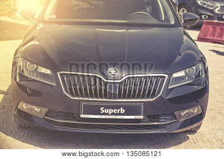 Wroclaw, Poland, May 28, 2016: Close Up On Skoda Superb On Motoshow On May 28, 2016 In Poland