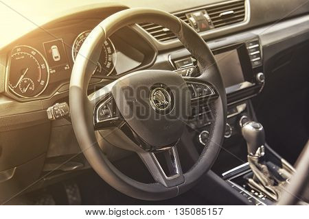 Wroclaw, Poland, May 28, 2016: Close Up On Skoda Superb Sterring Wheel On Motoshow On May 28, 2016 I