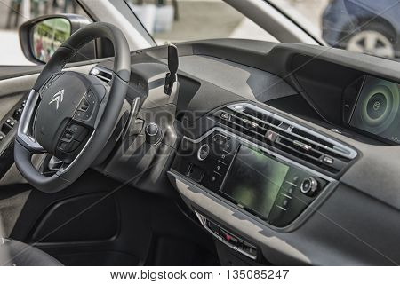 Wroclaw, Poland, May 28, 2016: Close Up On Citroen C4 Picasso Sterring Wheel On Motoshow On May 28,