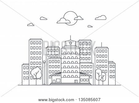 City Life Concept. Town street. Urban Landscape Banner with buildings trees shop stores sky and sun. Vector