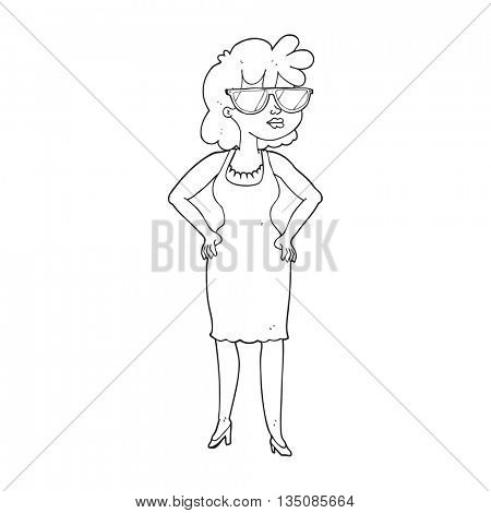 freehand drawn black and white cartoon woman wearing sunglasses