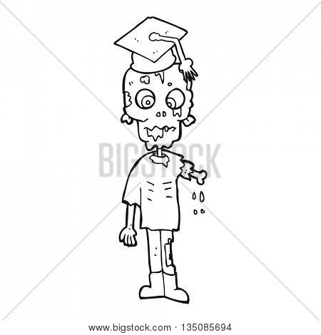 freehand drawn black and white cartoon zombie student